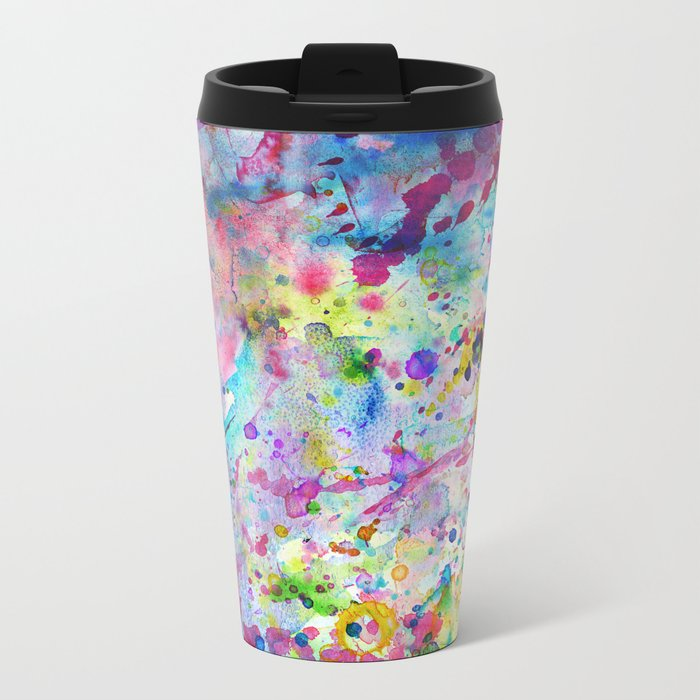 Abstract Bright Watercolor Paint Splatters Pattern Metal Travel Mug