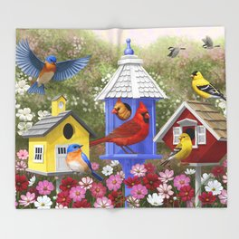 Birds and Colorful Bird Houses Throw Blanket