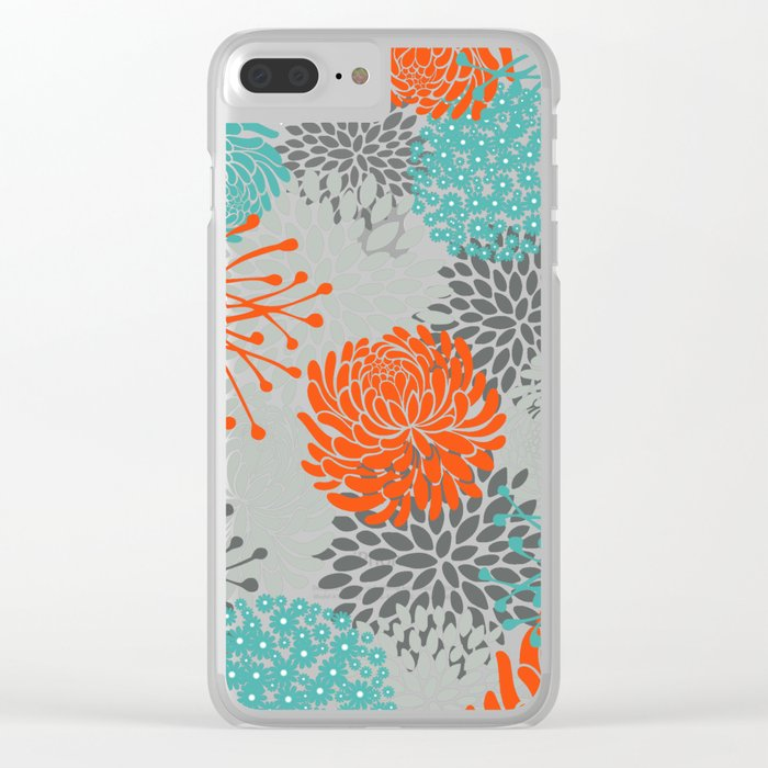 Orange and Teal Floral Abstract Print Clear iPhone Case