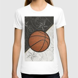 Basketball Stars and Court Team Sports Design T-shirt