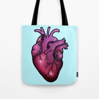 anatomical heart Tote Bags featuring Anatomical Heart by Hungry Designs