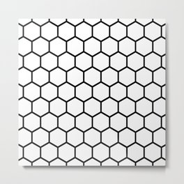 White and black honeycomb pattern Metal Print