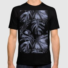 Classic Palm Leaves Navy Blue Black MEDIUM Mens Fitted Tee