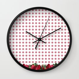 Srawberry Polka Dots Wall Clock