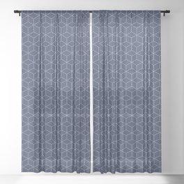 Sashiko stitching indigo pattern 1 Sheer Curtain