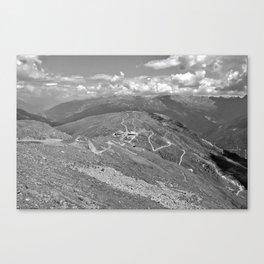 fisser yoke alps panorama serfaus fiss ladis tyrol austria europe black white Canvas Print