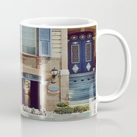 jewish Mugs featuring Blue Shutters in the Sun by Brown Eyed Lady