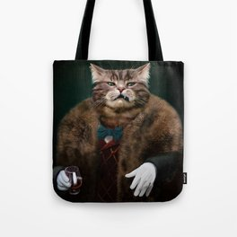 Arrogant sophisticated dressed cat boss looking with contempt Tote Bag