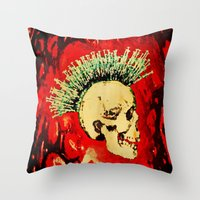 health Throw Pillows featuring MENTAL HEALTH - 025 by Lazy Bones Studios