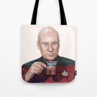 picard Tote Bags featuring Tea. Earl Grey. Hot. Captain Picard Star Trek | Watercolor by Olechka