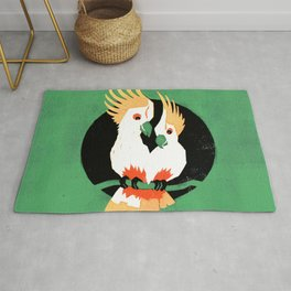 Birds – Two Cockatoos in Love in green, yellow, black and red Rug