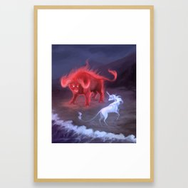 Unicorn and Bull Framed Art Print