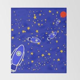 Rocketship to Mars Throw Blanket