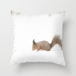 Little squirrel sitting in the snow #decor #society6 #buyart Throw Pillow