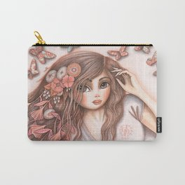 Paper Butterflies with girl Carry-All Pouch