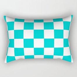 Checkered - White and Cyan Rectangular Pillow