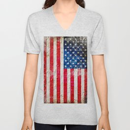 Distressed American Flag On Old Brick Wall - Horizontal Unisex V-Neck
