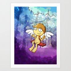 Angel boy on a swing Art Print