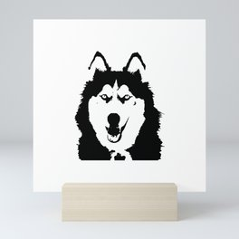 Black and white husky Mini Art Print