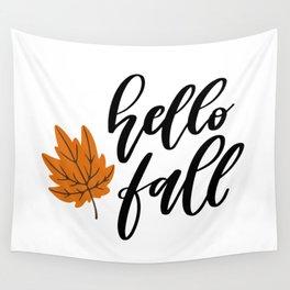 Hello Fall Wall Tapestry