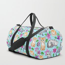 Kittens and Clematis - blue Duffle Bag