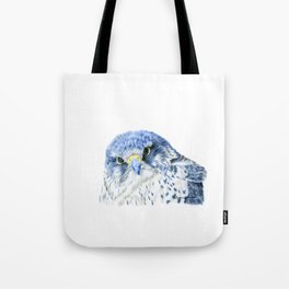 """""""Here's Looking At You"""" painting of a Gyrfalcon by Teresa Thompson Tote Bag"""