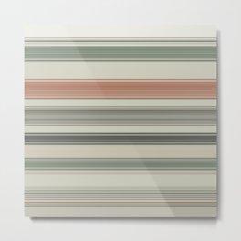 Earth Tone a Coral Stripes Metal Print
