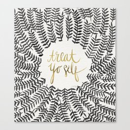Treat Yo Self – Black & Gold Canvas Print