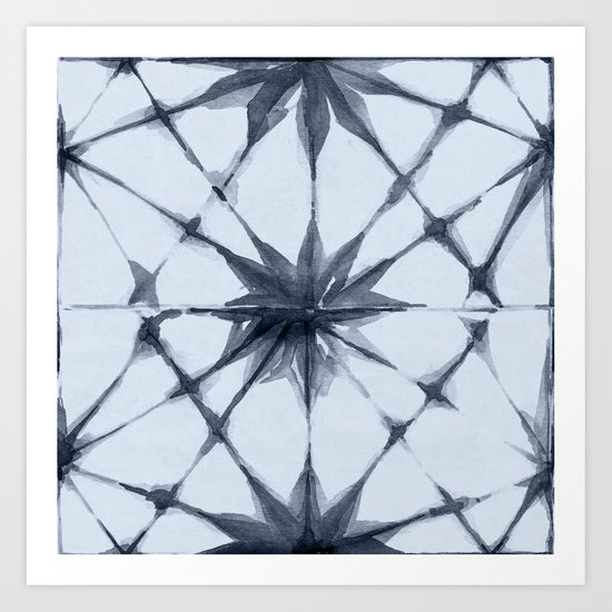Shibori Starburst Indigo Blue on Sky Blue Art Print