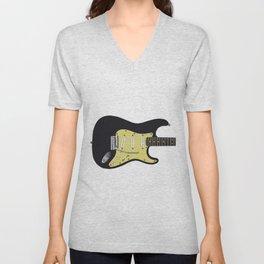 Black Electric Guitar Unisex V-Neck