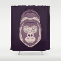 gorilla Shower Curtains featuring Gorilla by Brad Hansen