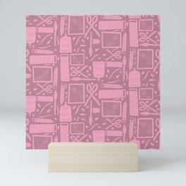Art Supplies Pattern Pink Mini Art Print