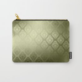 """Olive Damask Pattern"" Carry-All Pouch"