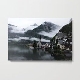VILLAGE NEAR LAKE SURROUNDED BY FOGS Metal Print
