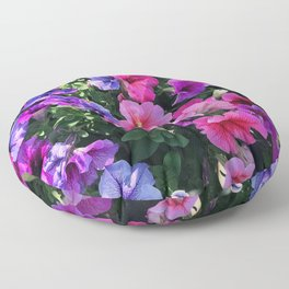 Pink, Red & Purple Petunia Flowers Sprinkled With Sunlight Floor Pillow