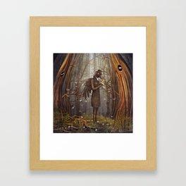 Raven in forest Framed Art Print