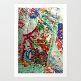 Vintage Hawaiian Quilt Scrap Art Print