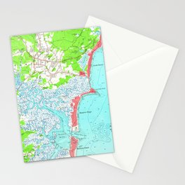 Vintage Map of Hampton Beach New Hampshire (1957) Stationery Cards