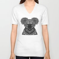 koala V-neck T-shirts featuring Koala by ArtLovePassion