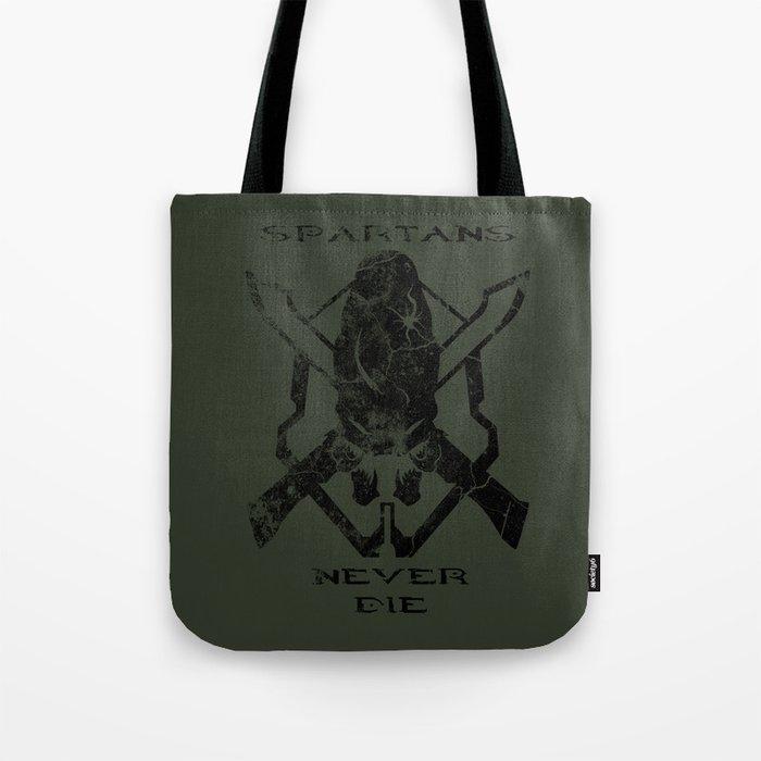 Spartans Never Die     Halo Tote Bag