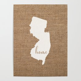 New Jersey is Home - White on Burlap Poster