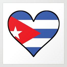 Cuban Flag Heart Art Print