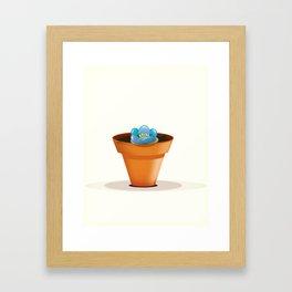 Pretty Blue flower in a pot Framed Art Print
