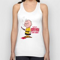 charlie brown Tank Tops featuring You're a Bad Man Charlie Brown by Chris Piascik