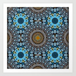 Calligraphic Boho (Blue) Art Print