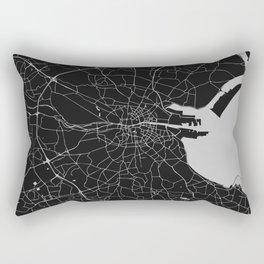 Black on Light Gray Dublin Street Map Rectangular Pillow