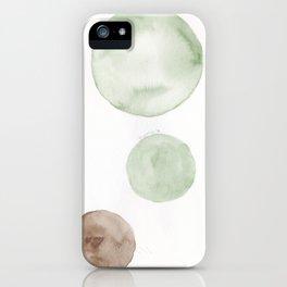 1  |181104 Australian Leaf Green & Brown Earth Orbs | Watercolour Circle Abstract Geometrical iPhone Case