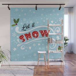 Let it snow - Vintage Christmas Wall Mural