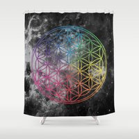 sacred geometry Shower Curtains featuring Sacred Geometry Universe 6 by Gaudy