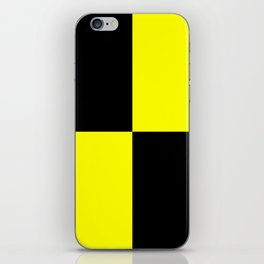 Bright Fluorescent Yellow Neon & Black Checked Checkerboard iPhone Skin